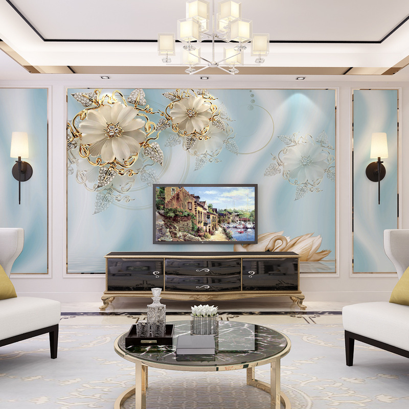 5D Stereo TV Backdrop Wallpaper Living Room Film And Television Wallpaper Wall Cloth Sofa Modern Jewelry Luxury Seamless Mural