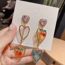 MENGJIQIAO nuevo coreano elegante corazón de acrílico cereza Pendientes para las mujeres de cristal brillante de vacaciones Pendientes para Mujer de Moda