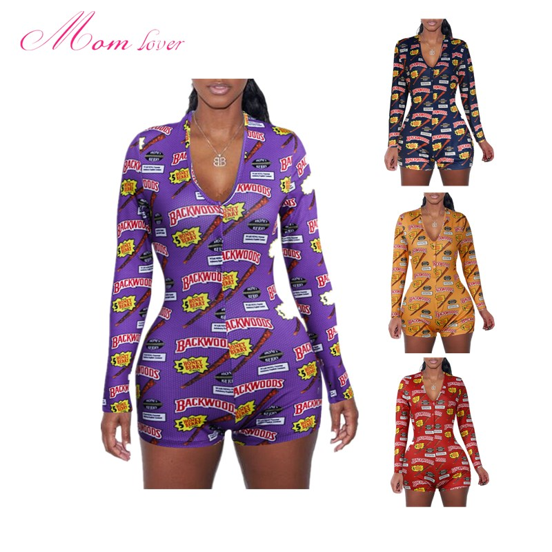 Long Sleeve V Neck Bodycon Stretchy Backwoods Cookies  Onesie Shorts Rompers Adult Onesie Pajamas For Women