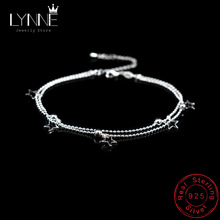 Anklet-Bracelets Chain-Leaves Jewelry Bead 925-Sterling-Silver Beach Star Pendants Small