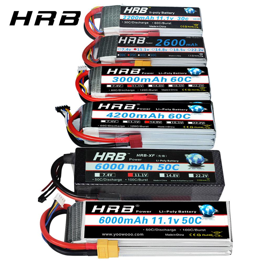 HRB RC Lipo Battery 2S 3S 4S 6S 11.1v 2200mah 22.2v 6000mah 1300mah 1500mah 2600mah 3300mah 4000mah 4200mah XT60-T Deans Plug