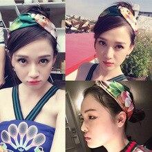Women Headband Hair-Accessories Twist-Turban Satin Elastic Butterflies Floral-Print Girl