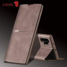 X-Level leather Case For Samsung Note 10 Ultra Thin Flip Protective Kickstand Back Cover For Samsung Galaxy Note 10 Plus Case x pattern protective tpu back case for samsung galaxy note ii n7100 black