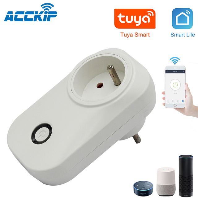 ACCKIP Prise Connectée WiFi 16A Mini Smart Plug Fonctionne via Android iOS Alexa Google Home Plug Adaptor with Energy Monitor