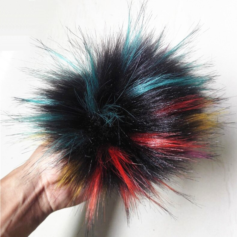 15cm Artificial Pom Pom Rainbow Color Faux Fur Pompom For Knitted Beanie Skullies Cap Hat Imitation Fur Ball Christmas Gift