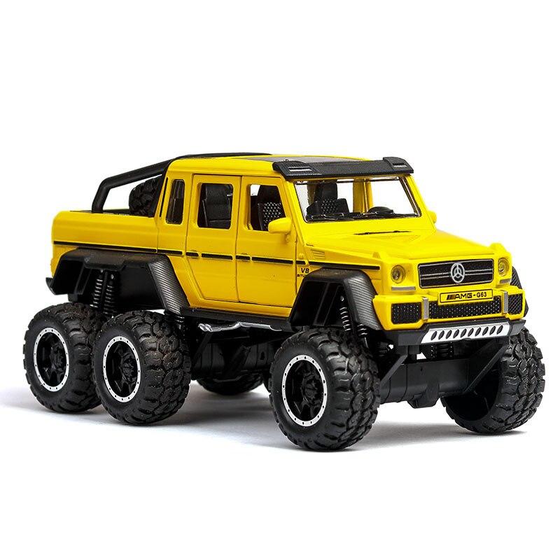 1:32 6wd diecast metal g63 fora da estrada suv carro modelo veículos g 63 6x6 rodas do bebê crianças brinquedos para crianças presente brilhante brabus brinquedos