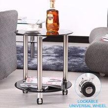 Redonda de vidro pequena mesa de café sala estar pé de aço inoxidável sofá lateral com fechadura universal roda varanda cabeceira móveis