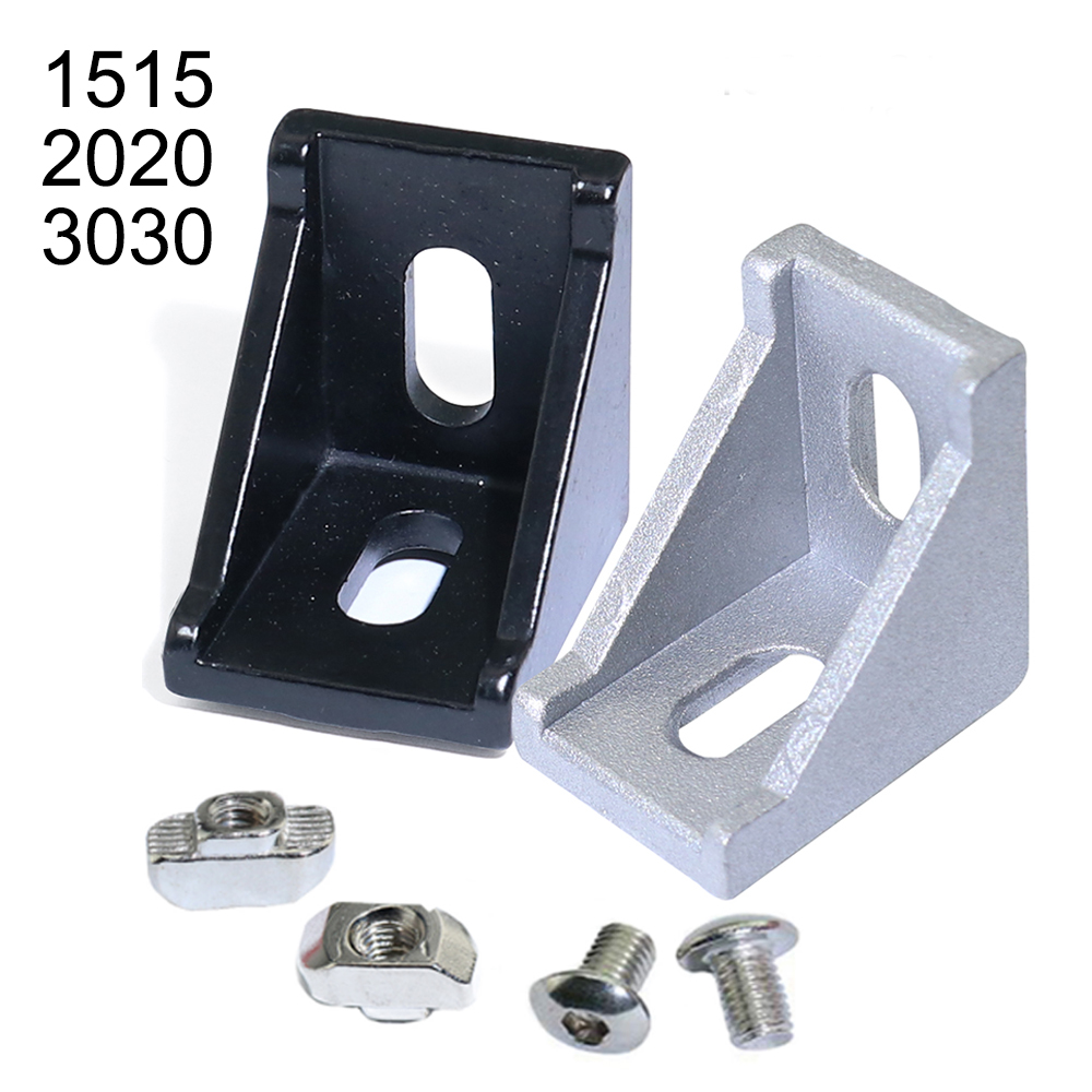30 50pcs 1515 2020 3030 Series Corner Angle L Brackets Connector Fasten Connector For 15S 20S 30S Aluminum Extrusion Profile