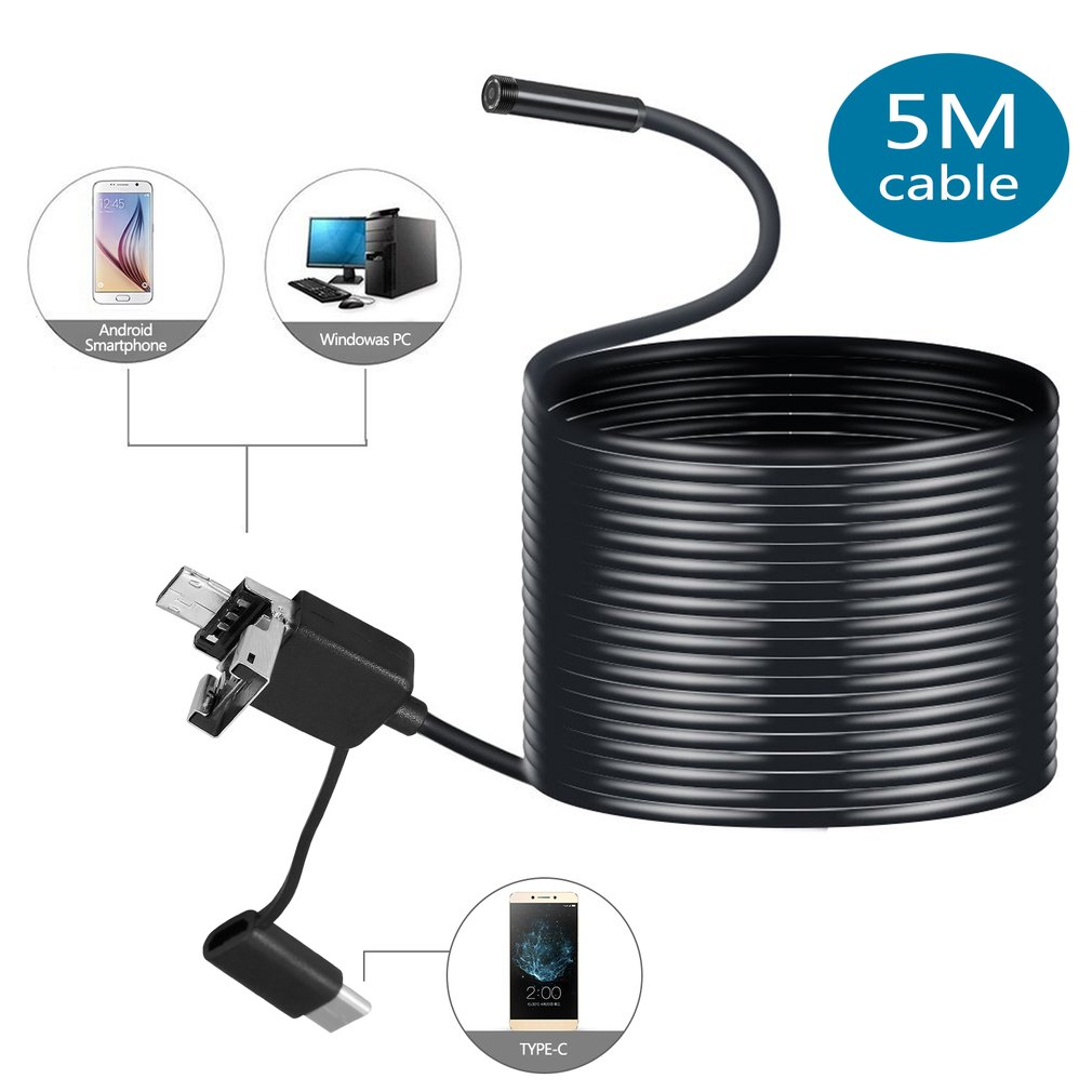 OCDAY 8MM Type-C & Android & PC Endoscope 3 In 1 2.0 MP USB Endoscope 6 LEDs Waterproof Inspection Camera For PC Laptops