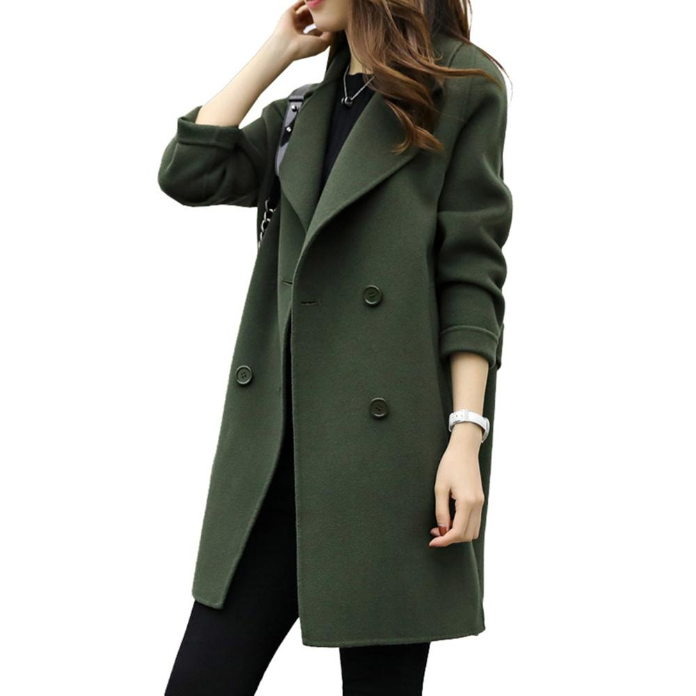 Outwear Midi-Coat Autumn Winter Fashion Women Double-Breasted Woolen Lapel Solid title=