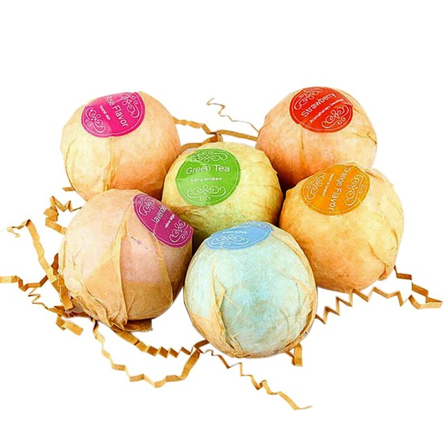 Organic Bath Bombs Bubble 6pcs Bath Salts Ball Essential Oils Handmade SPA Stress Relief Exfoliating Mint Lavender Rose Flavor 1