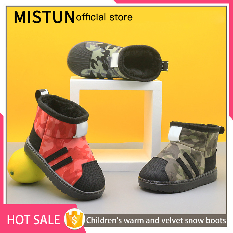 2021 winter new children's snow boots plus velvet non-slip boys waterproof cotton shoes girls short boots baby warm shoes 2