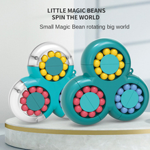 Children Education Intelligence Game Rotating Magic Beans Cube Fingertip Fidget Toys Kids Adults Stress Relief Spin Bead Puzzles