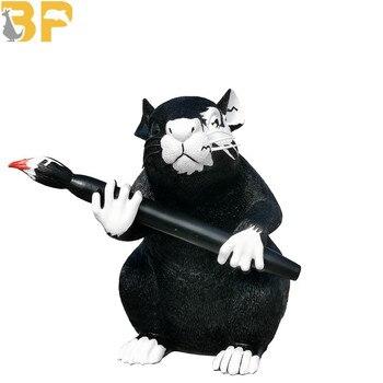 Modern Art Banksy Love Rat Street Art Resin Black Mouse Statue Creative Home Decor Art&Craft Ornaments