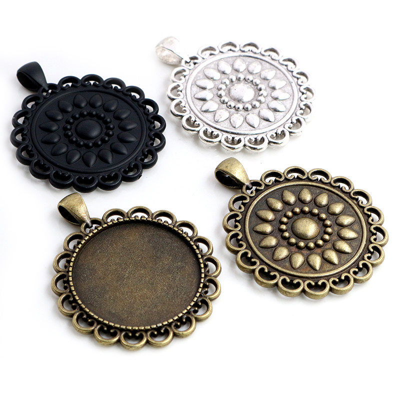 5pcs 30mm Inner Size Antique Silver Plated Bronze Black 3 Colors Classic Style Cabochon Base Setting Charms Pendant