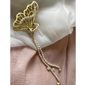 Korea Fashion Vintage Pearl Long Tassel Pendant Butterfly Metal Hairpin Barrettes For Women Party Aesthetic Accessories Jewelry