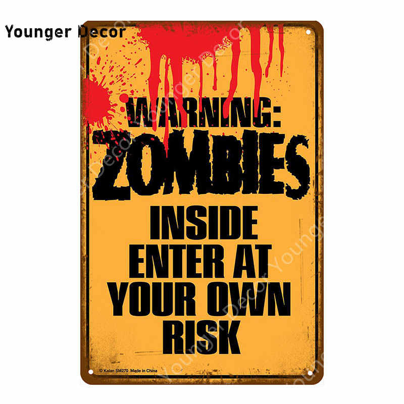 Warning Zombie Ahead Plate Danger Keep Out Metal Tin Sign Vintage Poster Wall Art Painting Plaque Bar Pub Club Home Decor Yi 016 Plaques Signs Aliexpress