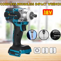 18V Electric Brushless Impact Wrench Rechargeable 1/2 Socket Wrench Power Tool Cordless Without Battery&accessories|Electric Wrenches| |  -