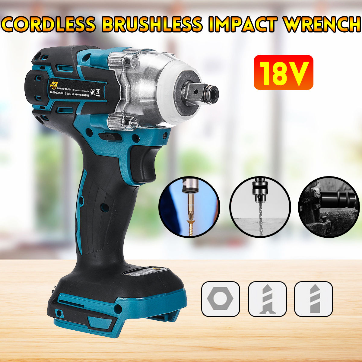 18V Electric Brushless Impact Wrench Rechargeable 1/2 Socket Wrench Power Tool Cordless Without Battery&accessories