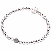 New 925 Sterling Silver Bracelet Smooth Beads & Pave Crystal Ball Bracelet Bangle Fit Bead Charm Diy Europe Jewelry