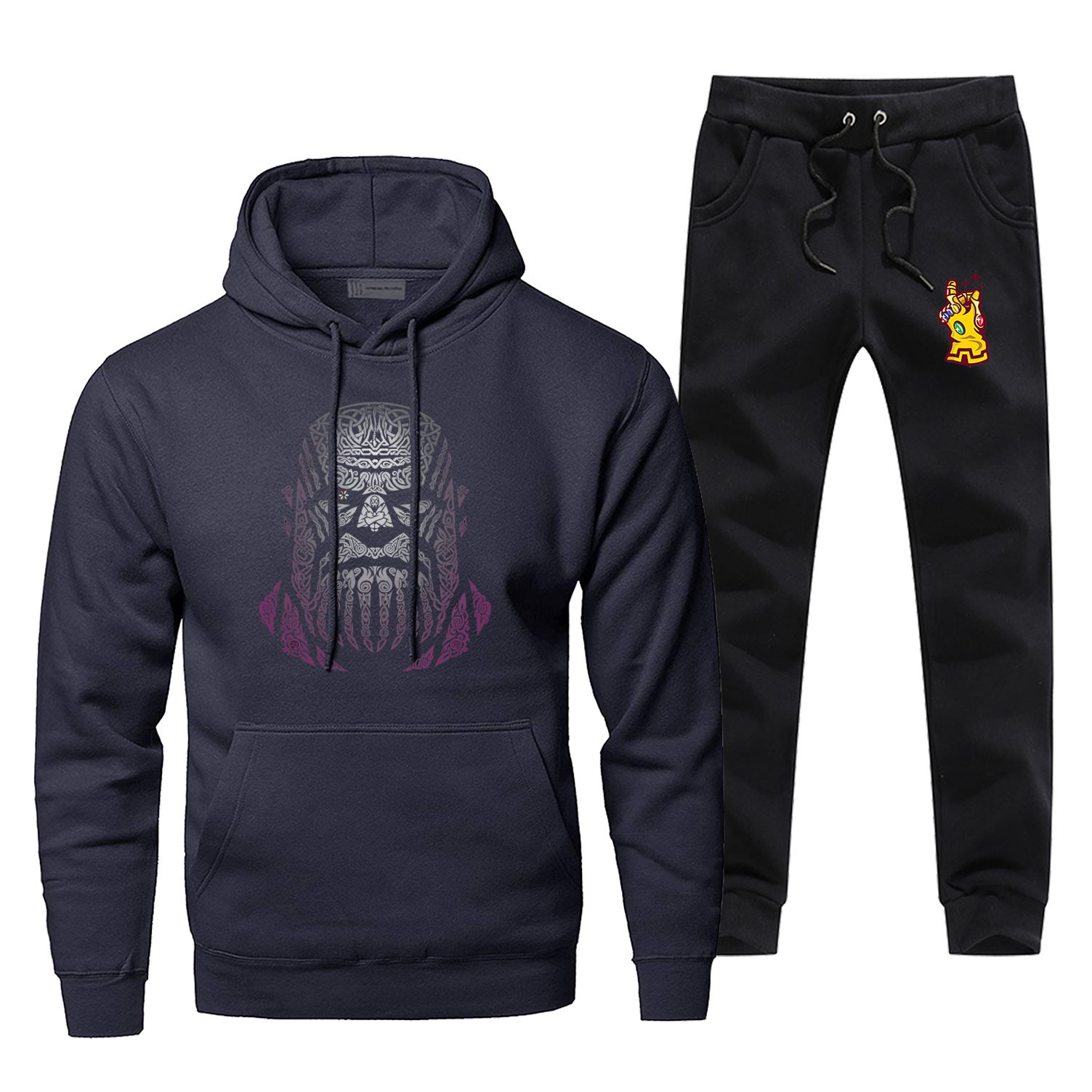 Thanos Creative Desgin Print Male Set Casual Men Titan Avengers Pants Sweatshirt End Game Comfortable Fleece Complete Tracksuit