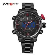 WEIDE zegarek mężczyźni Relogio Masculino Auto data tydzień zegarki męskie Top marka luksusowy zegarek analogowy wyświetlacz LED Alarmo Wrist Men Watch tanie tanio 16 8cm SPORT Podwójny Wyświetlacz QUARTZ 3Bar Składane zapięcie z bezpieczeństwem CN (pochodzenie) STAINLESS STEEL