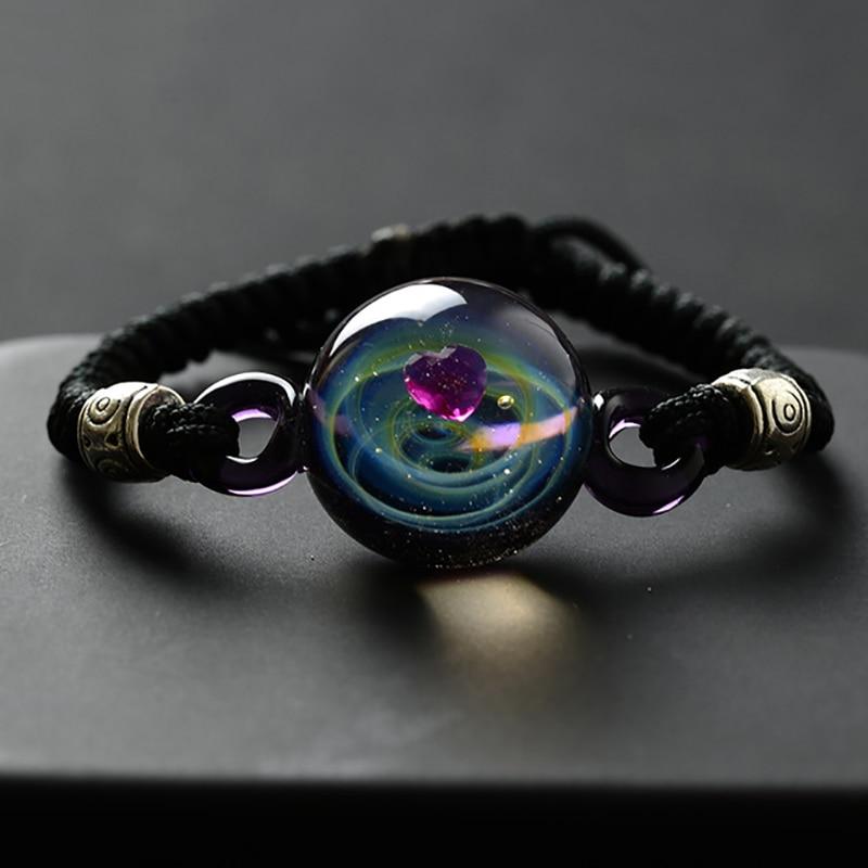 BOEYCJR, горячая Распродажа, Вселенная, планеты, стеклянные браслеты из бисера и браслеты, модные ювелирные изделия, галактика, солнечная система, браслет для женщин, Рождество - Окраска металла: 6