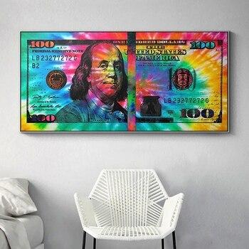 Carteles de pintura en lienzo con dibujos de 100 dólares, Cuadros con imágenes artísticas de pared para decoración del hogar y sala de estar