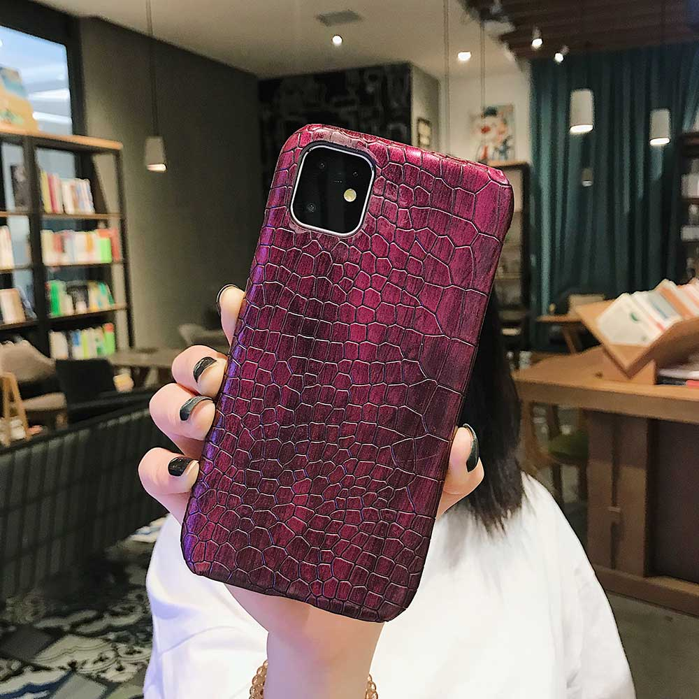 Fashion Cool Crocodile Snake Skin Cover Case With Hybrid Rubber Cape For iPhone Xs Max 17