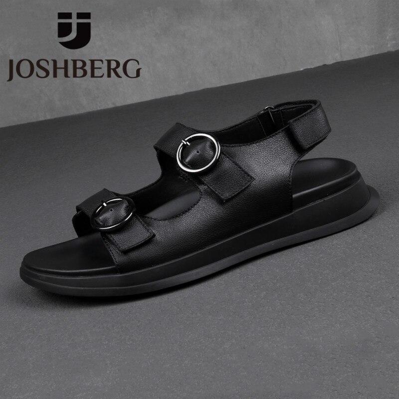 JOSHBERG été Crocs chaussures doux plage cuir de vache haute qualité noir sandales respirant hommes sandales Calcados Masculino