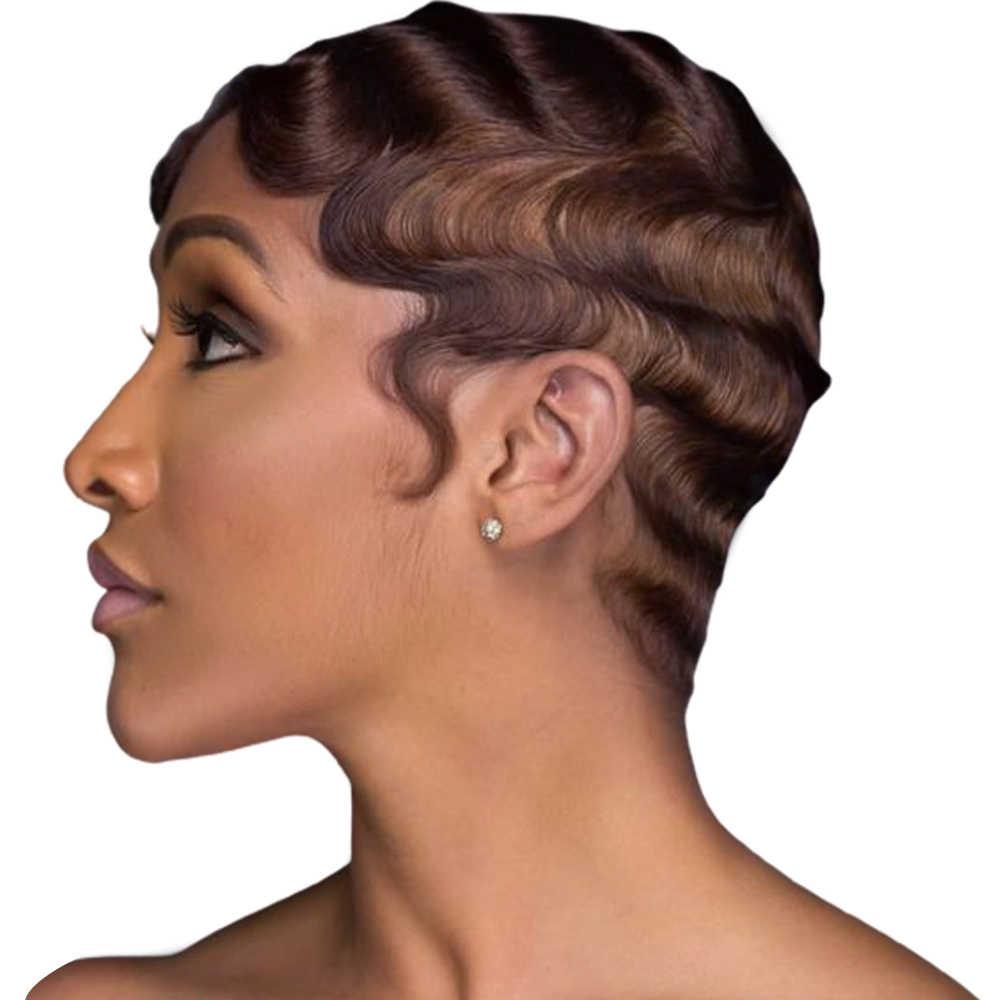 Pelucas de cabello humano corto para mujeres negras, peluca con ondas en los dedos, peluca brasileña de ola de mar, pelucas de cabello humano no Remy de Color Natural/#4/#27/#30/99j