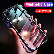 Tempered Glass Phone Cases For iPhone XS Max XR Flip Cover Anti Knock Magnetic Adsorption Metal Case 7 8 Plus 6 6S X