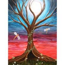 Diy картина по номерам Дерево маслом Раскраска Стрекоза настенный