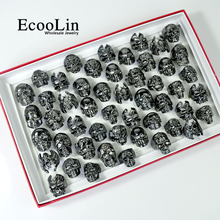100Pcs Fashion Mens Skull Skeleton Gothic Biker Rings Men Rock Punk Ring Party Favor Wholesale Jewelry Lots Top Quality LR4107
