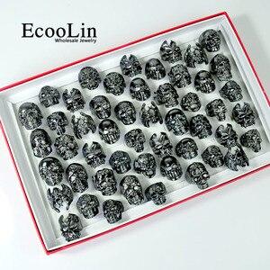 Image 1 - 100Pcs Fashion Mens Skull Skeleton Gothic Biker Rings Men Rock Punk Ring Party Favor Wholesale Jewelry Lots Top Quality LR4107