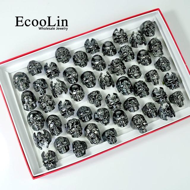 100Pcs Fashion Mens Skull Skeleton Gothic Biker Rings Men Rock Punk Ring Party Favor Wholesale Jewelry Lots Top Quality LR4107
