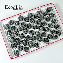 100Pcs แฟชั่นผู้ชาย Skull Skeleton Gothic BIKER แหวนผู้ชาย ROCK Punk แหวน PARTY Favor เครื่องประดับขายส่งจำนวนมาก TOP คุณภาพ LR4107