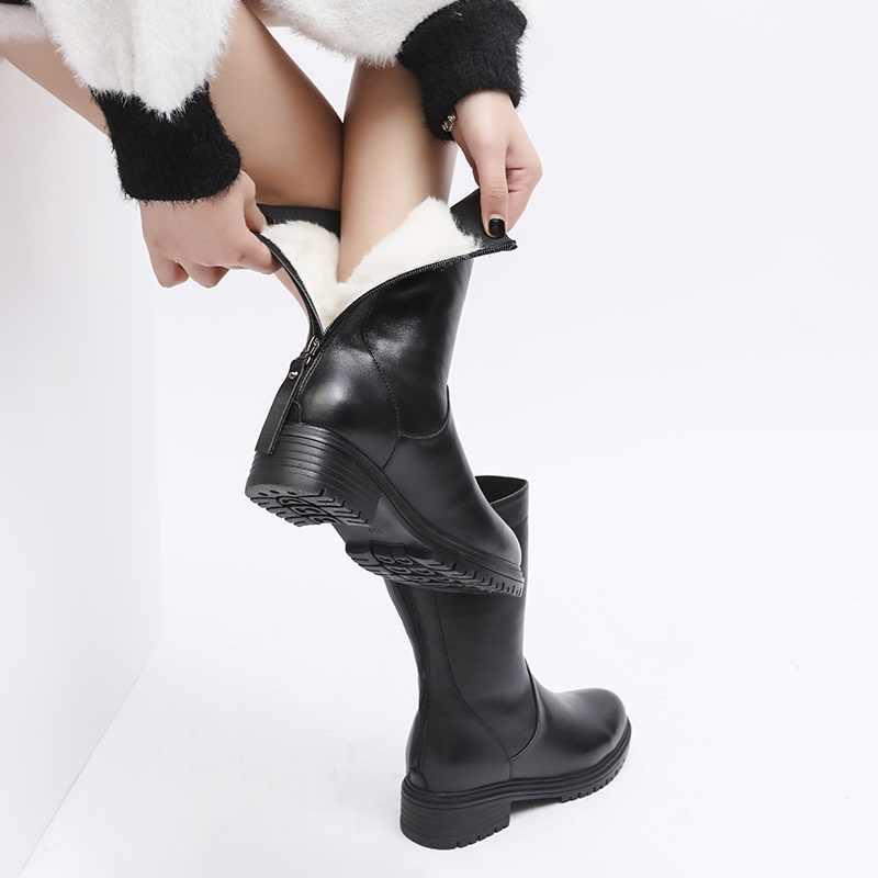 MORAZORA 2020 en kaliteli tam hakiki deri çizmeler kadın high-end doğal koyun yünü sıcak kış kar botları bayanlar yarım çizmeler