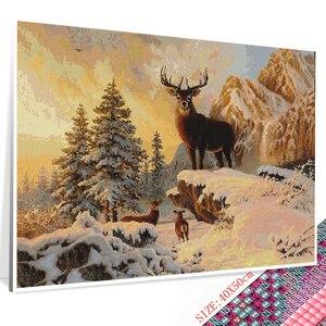 Huacan Алмазная вышивка зимний пейзаж Сделай Сам Вышивка крестом Алмазная картина животные горный хрусталь квадратная полная мозаика