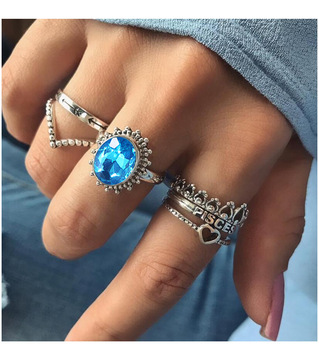 Amazon Cross-Border New Alloy Diamond Set Sapphire Lettered Heart-Shaped Crown 6-Piece Ring Set image