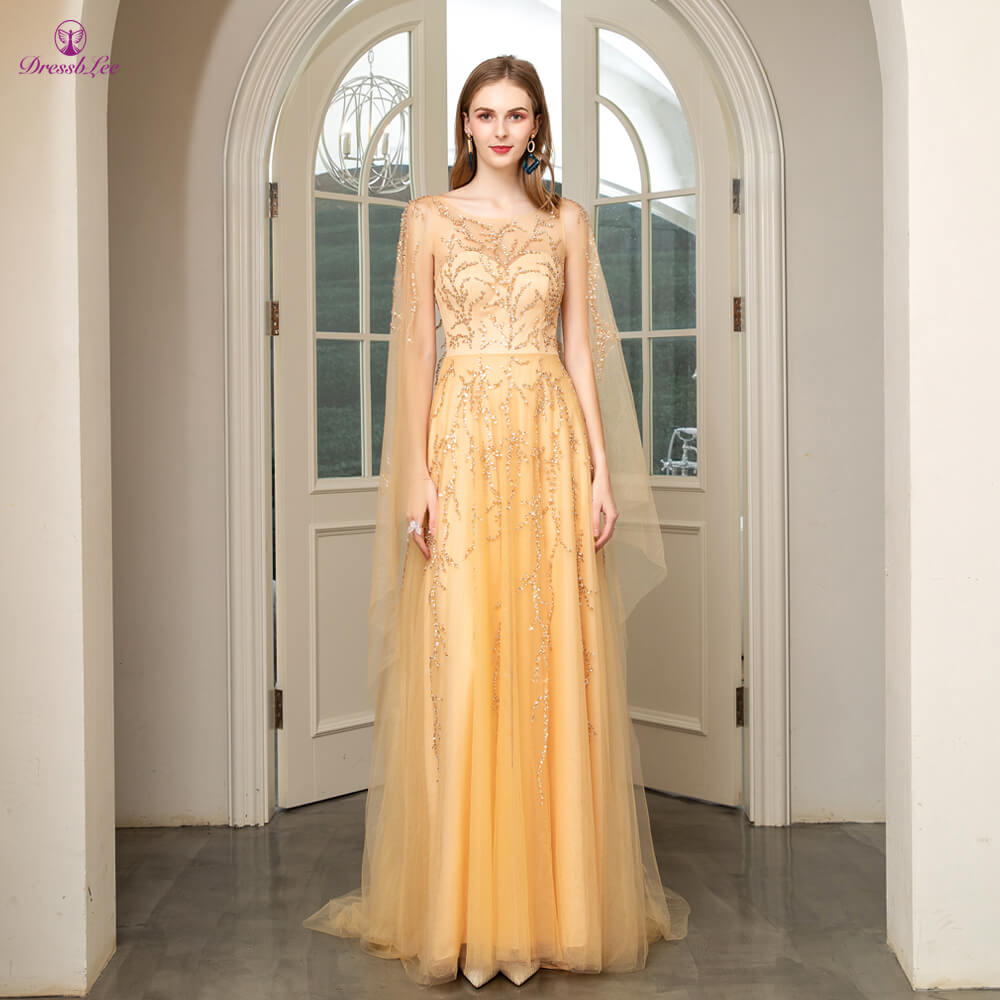 DressbLee Sparkly Long Prom Dress With Jacket Full Beaded Crystal Sequined Gold Prom Dresses Dubai Style Formal Party Gown