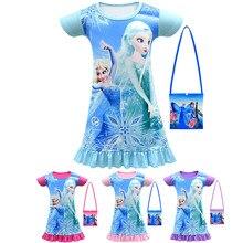 girl Princess Party Cute Dress Casual Girls Dress Summer Flounce Child Fashion Snow Queen Elsa Short sleeve Party Anna clothes tie neck bell sleeve flounce dip hem dress