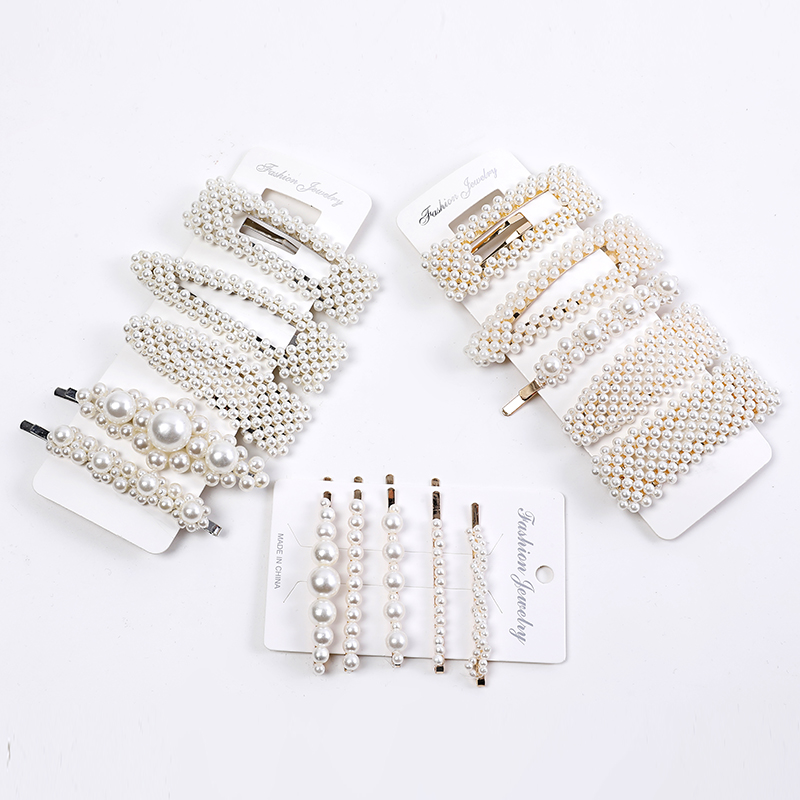 Fashion 5 Pieces / Set Women Girls Elegant Pearl Hair Clip Soft Hat Hair Clip Set Acrylic Hair Accessories Hair Style Set
