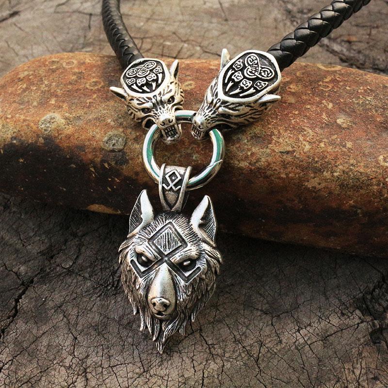 Collier homme viking tête de loup avec marteau de thor mjolnir  6