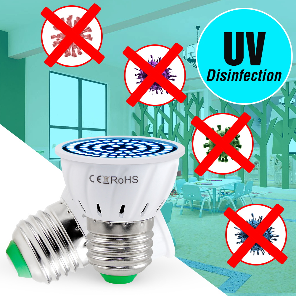 E14 Ultraviolet Light Sterilizer UV Light Bulb E27 Desinfection Lamp GU10 UVC Germicidal Bulb MR16 Bactericidal Lamp Amuchina