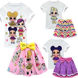 LOL сюрприз кукла белая футболка и плиссированная юбка комплект для детей девочек Лето Дети милые модные домашние Вечерние Повседневная оде...