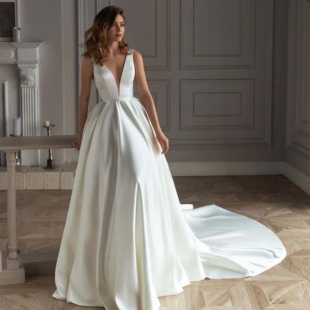 wedding : Satin Wedding Dress 2021 A-line V-Neck Sleeveless Backless Tank vestido de noiva Bridal Gown For Women Brides Robe De Maire