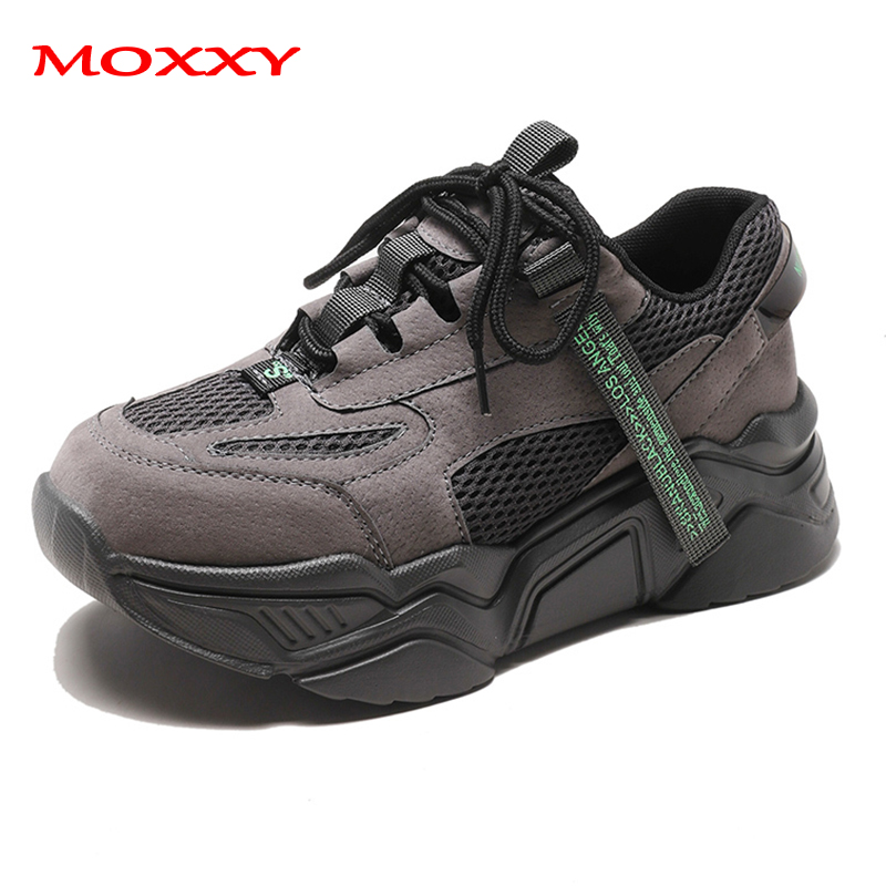 2019 New Retro Women Sneakers Platform Black Grey Sneakers Female Shoes Designer Chunky Sneakers Comfort Trainers Tenis Basket