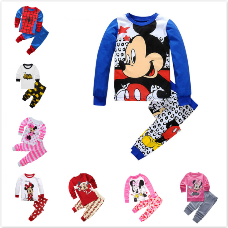 New Arrival Baby Boy Pajama Set Children Pyjama Fille Enfant Pijama Cartoon Mickey Minnie Kid Girl Cotton Sleepwear Clothing Set