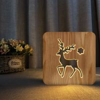 Wooden lamp wooden decorative table lamp christmas deer holiday gift night light